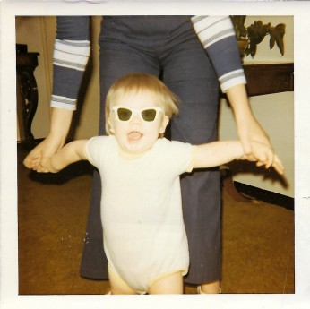 Barrett being held up by Aunt Marsha 1970