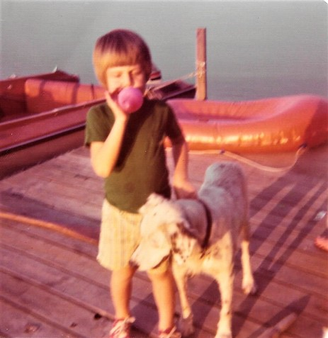 1975 Oct Barrett on Dock with Blue