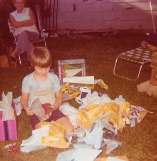 "6th Birthday. Backyard at the Davis'. That lady in back is Alma. She put the note on my door when I got called for ""Glory"" in 1989"